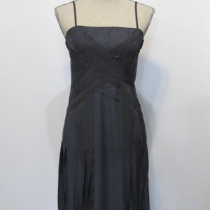 CHANEL  Black Label  Vintage Gray SilkDress Sz 38
